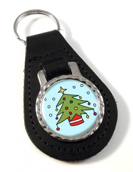 Christmas Tree Leather Key Fob