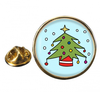 Christmas Tree Round Pin Badge