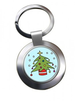 Christmas Tree Chrome Key Ring