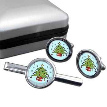 Christmas Tree Round Cufflink and Tie Clip Sert
