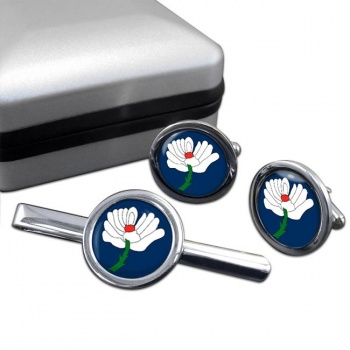 Yorkshire County Round Cufflink and Tie Clip Set
