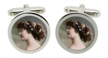 Young Edwardian Lady Round Cufflinks