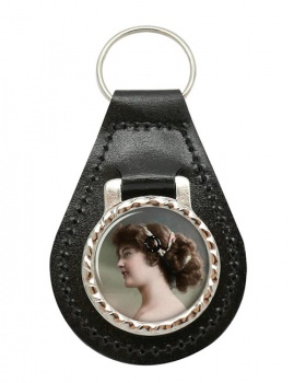 Young Edwardian Lady Leather Key Fob