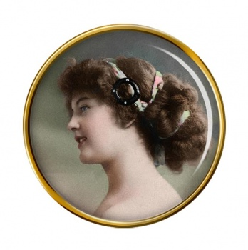 Young Edwardian Lady Pin Badge