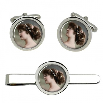 Young Edwardian Lady Cufflink and Tie Clip Set
