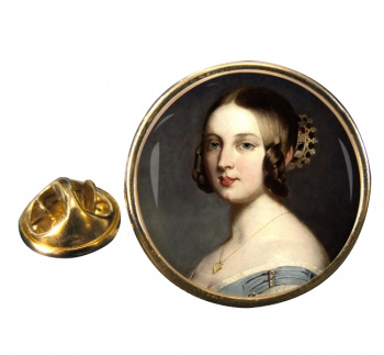 Young Queen Victoria Round Pin Badge