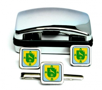 Yucatan (Mexico) Square Cufflink and Tie Clip Set