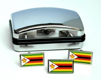 Zimbabwe Flag Cufflink and Tie Pin Set