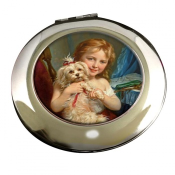 Young girl with a curly dog by Zuber-Buhler Round Mirror