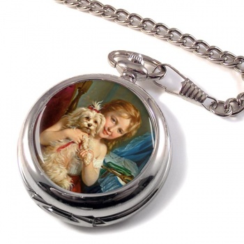 Young girl with a curly dog by Zuber-Buhler Pocket Watch