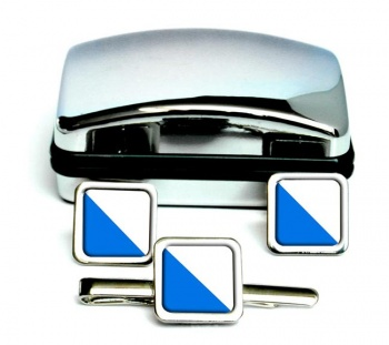 Zurich (Switzerland) Square Cufflink and Tie Clip Set